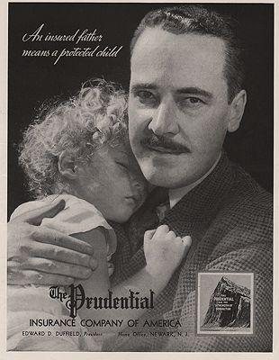 ORIG VINTAGE MAGAZINE AD / 1938 PRUDENTIAL INSURANCE ADillustrator- N/A - Product Image