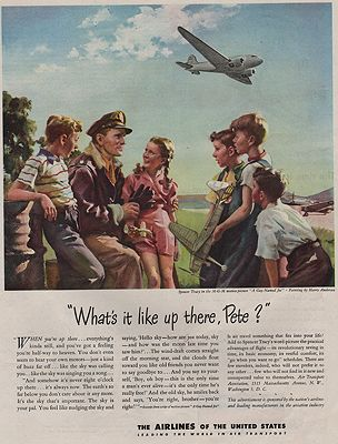 ORIG VINTAGE MAGAZINE AD / 1945 AIRLINES OF THE UNITED STATES ADillustrator- Harry  Anderson - Product Image