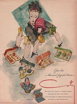 ORIG VINTAGE MAGAZINE AD / 1946 COTY COSMETICS  ADillustrator- Carl  Erickson - Product Image