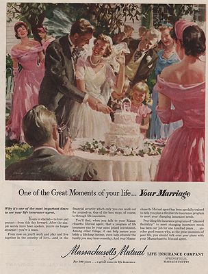 ORIG VINTAGE MAGAZINE AD / 1951 MASSACHUSETTS MUTUAL LIFE INSURANCE ADillustrator- Harry  Anderson - Product Image