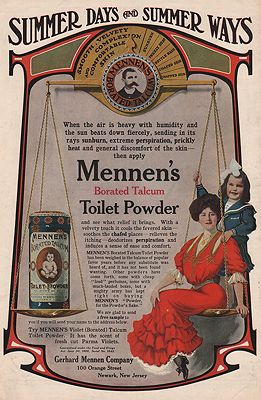 ORIG VINTAGE MAGAZINE AD/ 1906 MENNEN'S TALCUM POWDER ADillustrator- N/A - Product Image