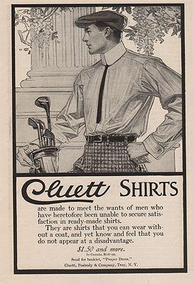 ORIG. VINTAGE MAGAZINE AD: 1910 CLUETT SHIRT ADillustrator- J.C.  Leyendecker - Product Image