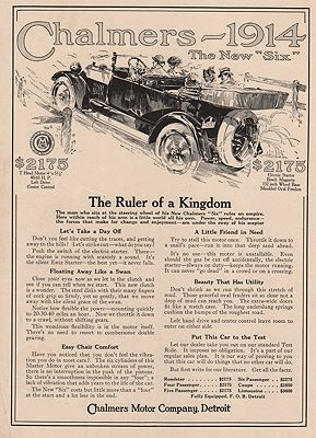 ORIG VINTAGE MAGAZINE AD/ 1914 CHALMERS MOTOR CO. ADillustrator- N/A - Product Image