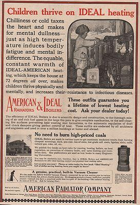 ORIG VINTAGE MAGAZINE AD/ 1917 AMERICAN RADIATOR CO. ADillustrator- John  Rae - Product Image