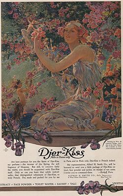 ORIG VINTAGE MAGAZINE AD/ 1917 DJER-KISS BEAUTY PRODUCTS ADillustrator- William de Leftwich  Dodge - Product Image