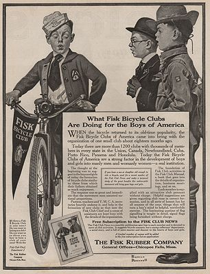 ORIG VINTAGE MAGAZINE AD/ 1917 FISK RUBBER COMPANY ADillustrator- Norman  Rockwell - Product Image