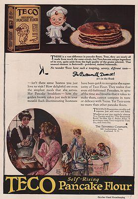 ORIG VINTAGE MAGAZINE AD/ 1919 TECO PANCAKE FLOUR ADillustrator- Maud Tousey  Fangel - Product Image