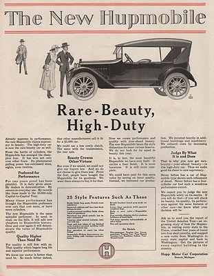 ORIG VINTAGE MAGAZINE AD/ 1920s HUPMOBILE ADillustrator- George  Harper - Product Image
