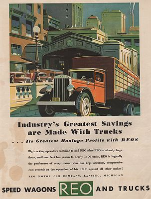 ORIG VINTAGE MAGAZINE AD/ 1920s REO TRUCK ADillustrator- N/A - Product Image