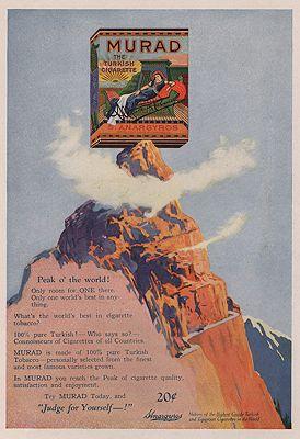 ORIG VINTAGE MAGAZINE AD/ 1921 MURAD CIGARETTE ADillustrator- N/A - Product Image