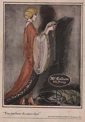 ORIG VINTAGE MAGAZINE AD/ 1921 McCALLUM SILK HOSIERY ADillustrator- Mary  Mackinnon - Product Image