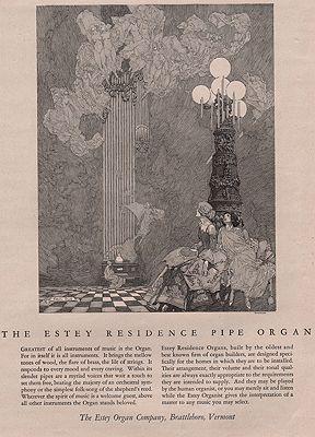 ORIG VINTAGE MAGAZINE AD/ 1923 ESTEY ORGAN COMPANY ADillustrator- Franklin  Booth - Product Image