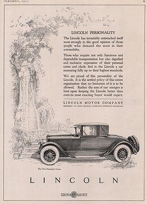 ORIG VINTAGE MAGAZINE AD/ 1923 LINCOLN CAR ADillustrator- N/A - Product Image