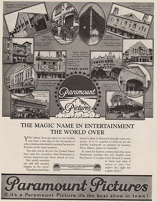 ORIG VINTAGE MAGAZINE AD/ 1923 PARAMOUNT PICTURES ADillustrator- N/A - Product Image