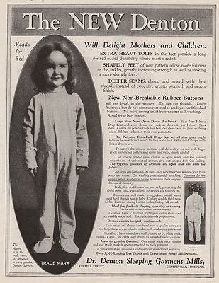 ORIG VINTAGE MAGAZINE AD/ 1924 DR. DENTON SLEEPWEAR ADillustrator- N/A - Product Image