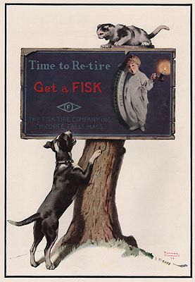 ORIG VINTAGE MAGAZINE AD/ 1924 FISK RUBBER COMPANY ADillustrator- Norman  Rockwell - Product Image