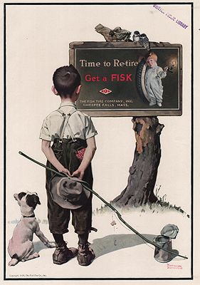 ORIG VINTAGE MAGAZINE AD/ 1924 FISK TIRE ADillustrator- Norman  Rockwell - Product Image