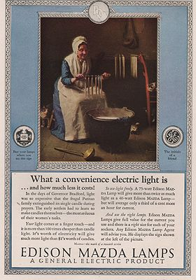 ORIG VINTAGE MAGAZINE AD/ 1925 EDISON  MAZDA LAMP ADillustrator- Norman  Rockwell - Product Image
