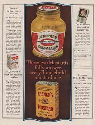 ORIG. VINTAGE MAGAZINE AD: 1925 FRENCH'S MUSTARD ADillustrator- N/A - Product Image