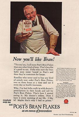 ORIG VINTAGE MAGAZINE AD/ 1925 POST BRAN FLAKES ADillustrator- Norman  Rockwell - Product Image