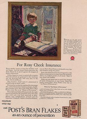 ORIG VINTAGE MAGAZINE AD/ 1925 POST BRAN FLAKES CEREAL ADillustrator- Dean  Cornwell - Product Image