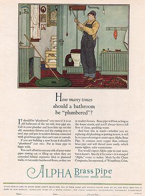 ORIG VINTAGE MAGAZINE AD/ 1927 ALPHA BRASS PIPE ADillustrator- Floyd  Davis - Product Image