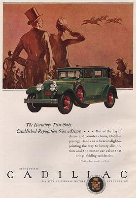 ORIG. VINTAGE MAGAZINE AD: 1927 CADILLAC CAR ADillustrator- J.  Karl - Product Image