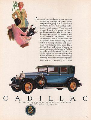 ORIG VINTAGE MAGAZINE AD/ 1927 CADILLAC CAR ADillustrator- N/A - Product Image