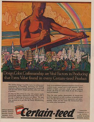 ORIG VINTAGE MAGAZINE AD/ 1927 CERTAIN-TEED BUILDING MATERIALS ADillustrator- Herbert  Paus - Product Image