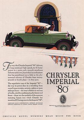 ORIG. VINTAGE MAGAZINE AD: 1927 CHRYSLER IMPERIAL 80 CAR ADillustrator- N/A - Product Image