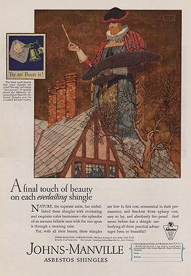 ORIG VINTAGE MAGAZINE AD/ 1927 JOHNS-MANVILLE SHINGLE ADillustrator- Robert  Lawson - Product Image