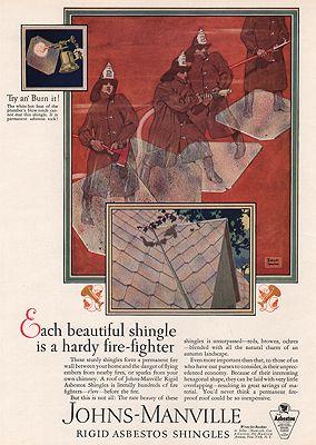 ORIG VINTAGE MAGAZINE AD/ 1927 JOHNS-MANVILLE SHINGLE ADillustrator- Robert  Lawson - Product Image
