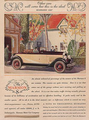 ORIG VINTAGE MAGAZINE AD/ 1927 MARMON 8 CAR ADillustrator- Malcolm Daniel  Charleson - Product Image
