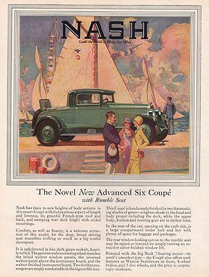ORIG VINTAGE MAGAZINE AD/ 1927 NASH CAR ADillustrator- N/A - Product Image