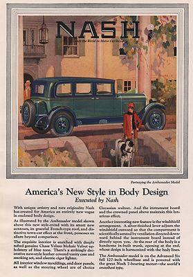 ORIG. VINTAGE MAGAZINE AD: 1927 NASH CAR ADillustrator- N/A - Product Image