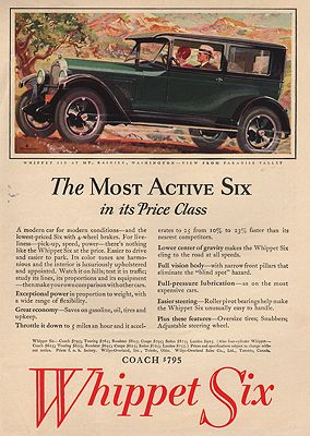 ORIG VINTAGE MAGAZINE AD/ 1927 WHIPPET SIX CAR ADillustrator- N/A - Product Image