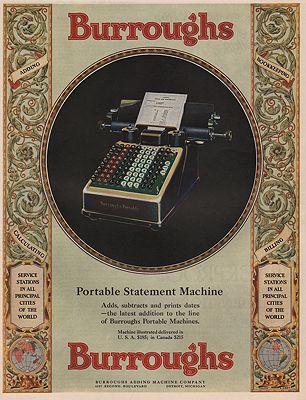 ORIG VINTAGE MAGAZINE AD/ 1928 BURROUGHS ADDING MACHINE illustrator- N/A - Product Image