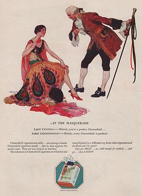 ORIG VINTAGE MAGAZINE AD/ 1928 CHESTERFIELD CIGARETTES ADillustrator- Saul   Tepper - Product Image