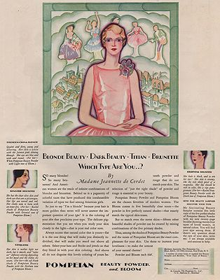 ORIG VINTAGE MAGAZINE AD/ 1928 POMPEIAN BEAUTY POWDERillustrator- N/A - Product Image