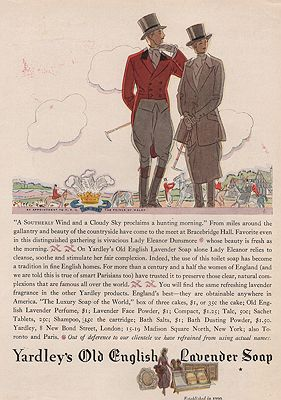 ORIG VINTAGE MAGAZINE AD/ 1928 YARDLEY'S OLD ENGLISH LAVENDER SOAP ADillustrator- Leslie  Saalburg - Product Image