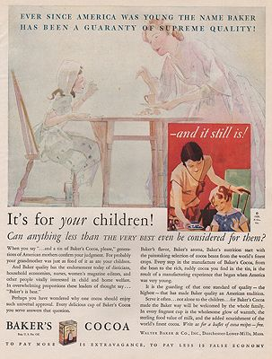 ORIG VINTAGE MAGAZINE AD/ 1929 BAKER'S COCOA ADillustrator- N/A - Product Image