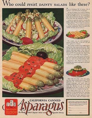 ORIG VINTAGE MAGAZINE AD/ 1929 CALIFORNIA ASPARAGUS ADillustrator- N/A - Product Image