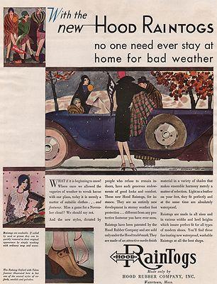 ORIG VINTAGE MAGAZINE AD/ 1929 HOOD RAINTOGS ADillustrator- Gladys Rockmore  Davis - Product Image