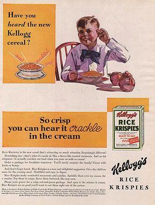 ORIG. VINTAGE MAGAZINE AD: 1929 KELLOGG'S RICE KRISPIES ADillustrator- N/A - Product Image