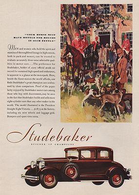 ORIG VINTAGE MAGAZINE AD/ 1929 STUDEBAKER CAR ADillustrator- Harry  Timmins - Product Image