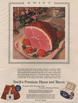 ORIG VINTAGE MAGAZINE AD/ 1929 SWIFT'S PREMIUM HAM ADillustrator- N/A - Product Image