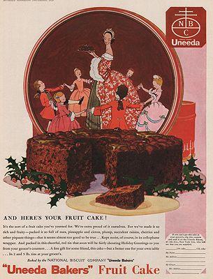 ORIG VINTAGE MAGAZINE AD/ 1929 UNEEDA BAKERS FRUIT CAKE ADillustrator- N/A - Product Image