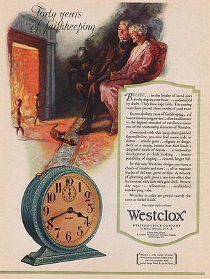 ORIG VINTAGE MAGAZINE AD/ 1929 WESTCLOX CLOCK ADillustrator- N/A - Product Image