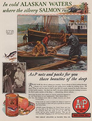 ORIG VINTAGE MAGAZINE AD/ 1930 A&P GROCERY STORE ADillustrator- Anton Otto  Fischer - Product Image