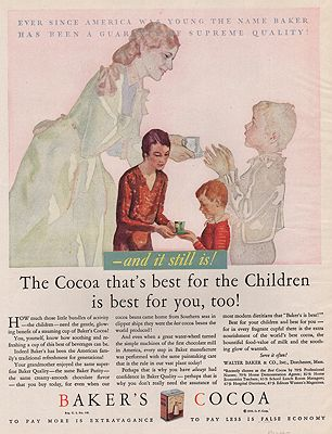 ORIG VINTAGE MAGAZINE AD/ 1930 BAKER'S COCOA ADillustrator- N/A - Product Image